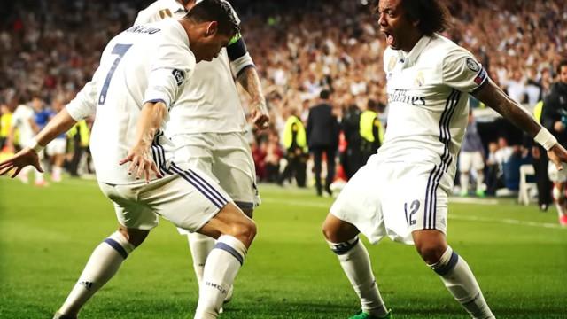 Real Madrid's Cristiano Ronaldo and Marcelo