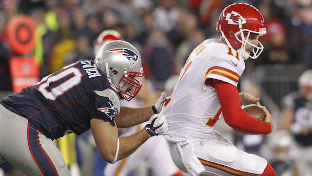 Patriots defensive end Rob Ninkovich, Chiefs quarterback Alex Smith