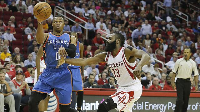 Oklahoma City Thunder guard Russell Westbrook and Houston Rockets guard James Harden