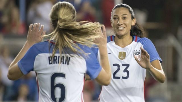 USA Women's Soccer's Morgan Brian and Christen Press