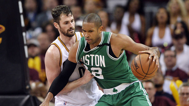 Boston Celtics forward Al Horford and Cleveland Cavaliers forward Kevin Love