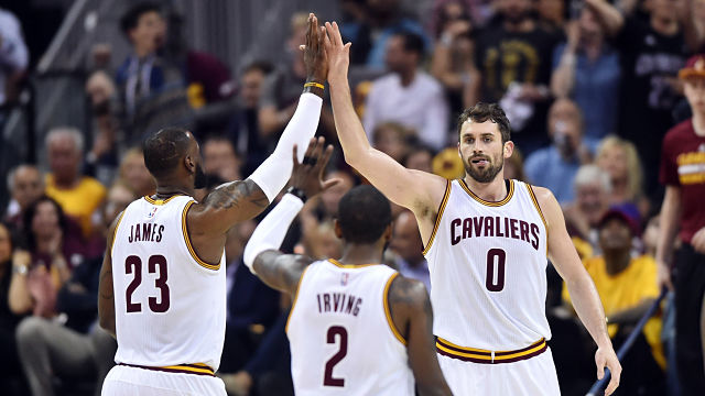 Cleveland Cavaliers forwards Kevin Love and LeBron James