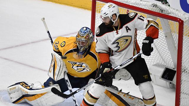 Anaheim Ducks center Ryan Kesler and Nashville Predators goalie Pekka Rinne