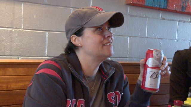 Red Sox Fan At Tasty Burger