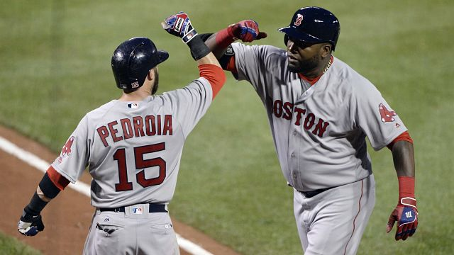 Boston Red Sox second baseman Dustin Pedroia and David Ortiz
