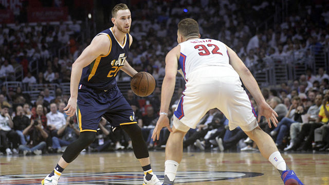 Utah Jazz forward Gordon Hayward and Los Angeles Clippers forward Blake Griffin