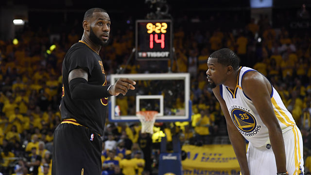 Cleveland Cavaliers forward LeBron James and Golden State Warriors forward Kevin Durant