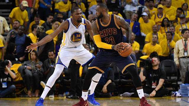 Golden State Warriors forward Kevin Durant and Cleveland Cavaliers forward LeBron James