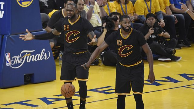 Cleveland Cavaliers forward LeBron James and center Tristan Thompson