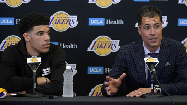 Los Angeles Lakers point guard Lonzo Ball and general manager Rob Pelinka