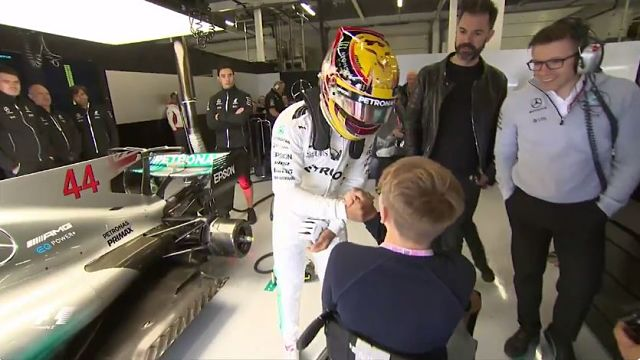 Formula One driver Lewis Hamilton and Formula 4 driver Billy Monger