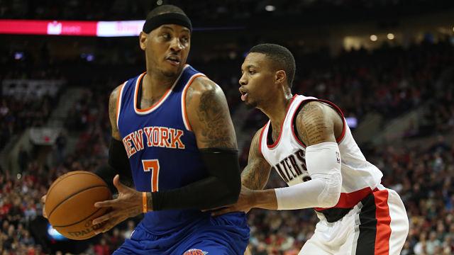 New York Knicks forward Carmelo Anthony and Portland Trail Blazers guard Damian Lillard