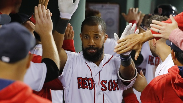 Boston Red Sox left fielder Chris Young