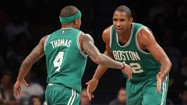 Boston Celtics guard Isaiah Thomas and center Al Horford