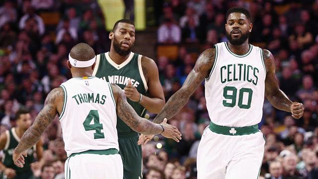 Boston Celtics guard Isaiah Thomas and forward Amir Johnson