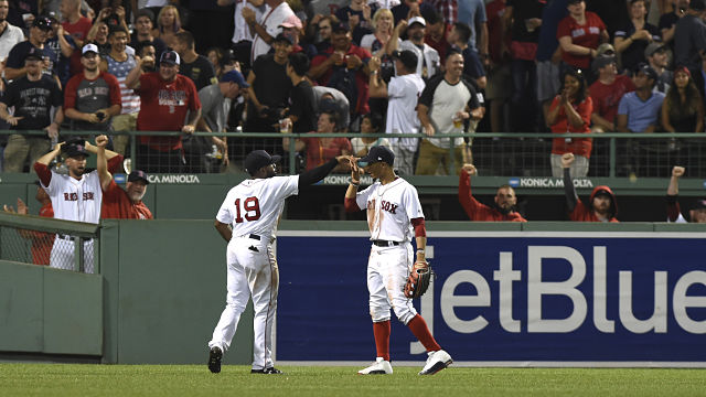 Boston Red Sox outfielders Jackie Bradley Jr. and Mookie Betts