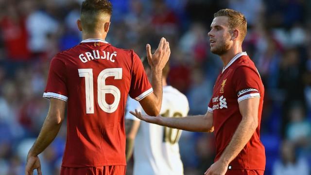 Liverpool's Marko Grujic and Jordan Henderson