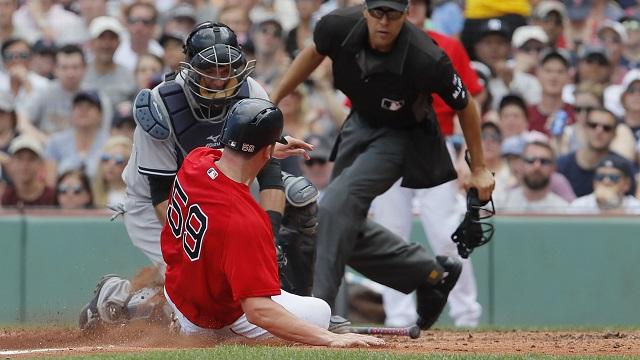 Boston Red Sox first baseman Sam Travis