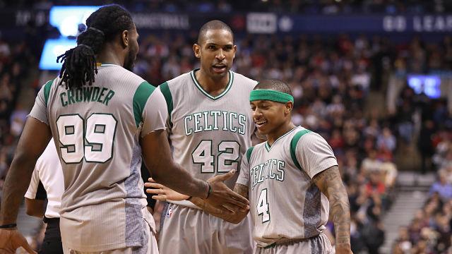 Boston Celtics forward Al Horford and Cleveland Cavaliers forward Jae Crowder and guard Isaiah Thomas
