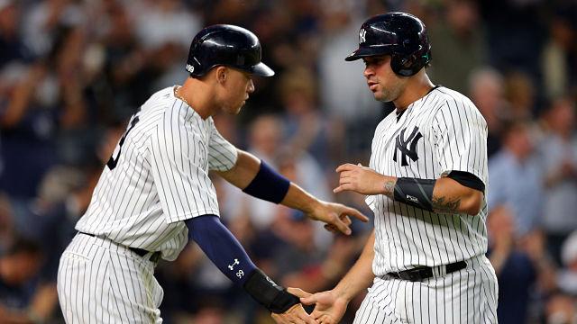 New York Yankees outfielder Aaron Judge and catcher Gary Sanchez