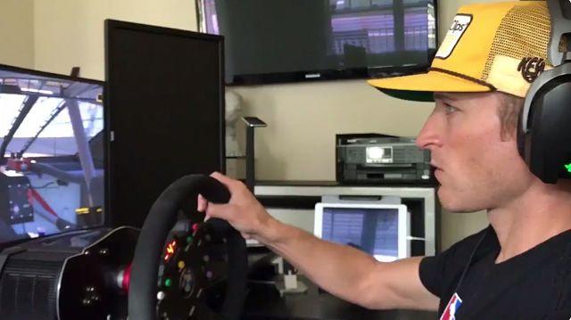 NASCAR driver Kasey Kahne playing iRacing