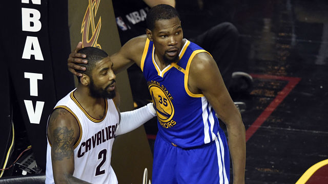 Boston Celtics guard Kyrie Irving and Golden State Warriors forward Kevin Durant