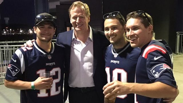 NFL commissioner Roger Goodell with New England Patriots fans