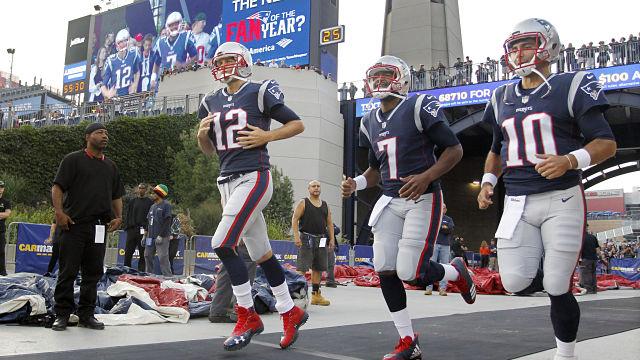 New England Patriots quarterbacks Tom Brady, Jacoby Brissett and Jimmy Garoppolo