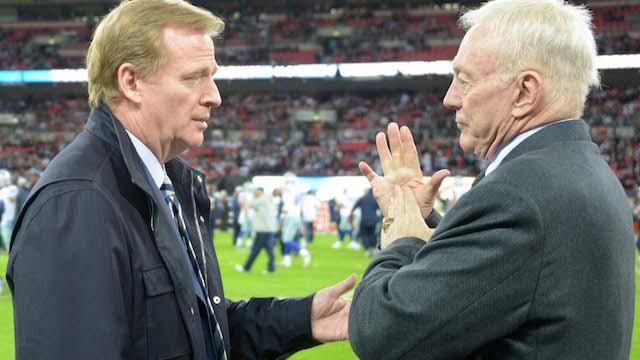 NFL commissioner Roger Goodell, Cowboys owner Jerry Jones