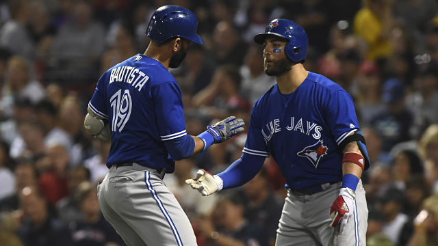 Toronto Blue Jays outfielders Jose Bautista and Kevin Pillar