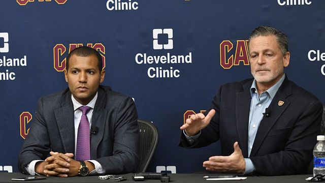 Cleveland Cavaliers general manager Koby Altman and owner Dan Gilbert