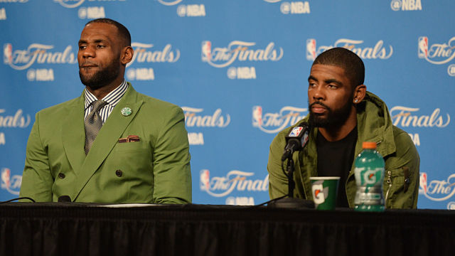 Cleveland Cavaliers forward LeBron James and Boston Celtics guard Kyrie Irving