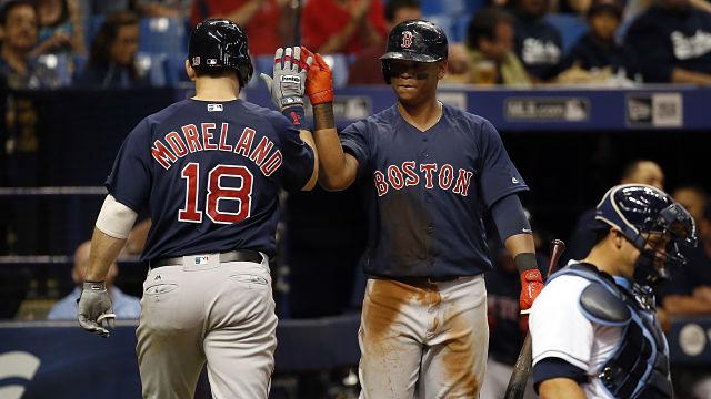 Boston Red Sox first baseman Mitch Moreland and third baseman Rafael Devers
