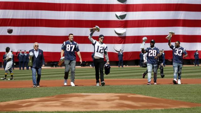 New England Patriots' Robert Kraft, Rob Gronkowski, Tom Brady, James White and Dion Lewis