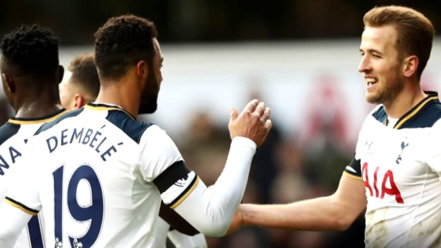 Tottenham's Harry Kane and Moussa Dembele