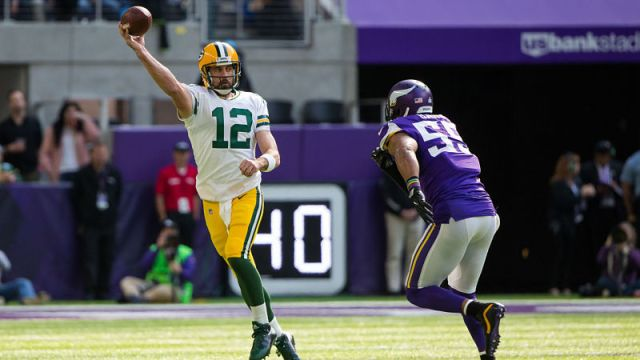 Green Bay Packers quarterback Aaron Rodgers and Minnesota Vikings linebacker Anthony Barr