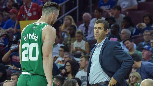 Boston Celtics coach Brad Stevens and forward Gordon Hayward