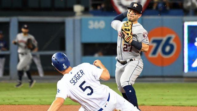 Los Angeles Dodgers shortstop Corey Seager and Houston Astros second baseman Jose Altuve