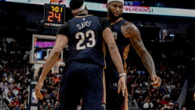 New Orleans Pelicans forward Anthony Davis and center DeMarcus Cousins