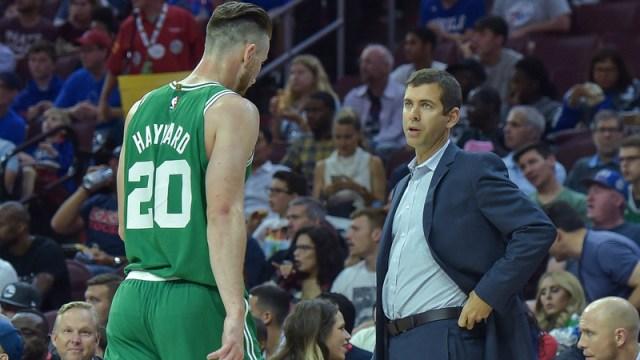 Boston Celtics forward Gordon Hayward, coach Brad Stevens