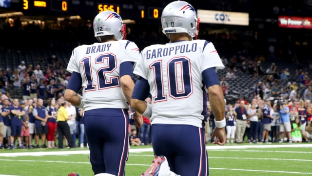 New England Patriots quarterback Tom Brady and San Francisco 49ers quarterback Jimmy Garoppolo