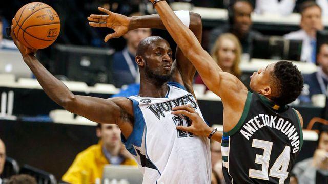 Kevin Garnett and Milwaukee Bucks forward Giannis Antetokounmpo