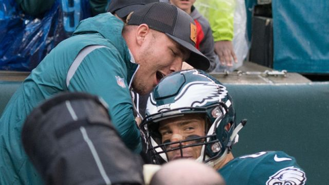 Los Angeles Angels outfielder Mike Trout and Philadelphia Eagles tight end Zach Ertz