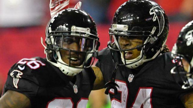 Atlanta Falcons running backs Devonta Freeman and Tevin Coleman