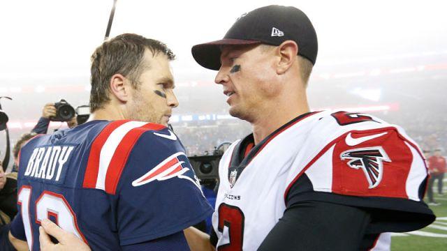 New England Patriots quarterback Tom Brady and Atlanta Falcons quarterback Matt Ryan