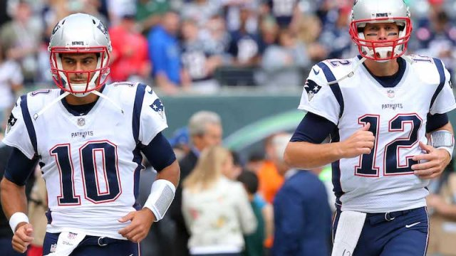 Patriots quarterbacks Jimmy Garoppolo, Tom Brady