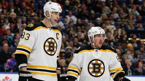 Boston Bruins defenseman Zdeno Chara and winger Brad Marchand