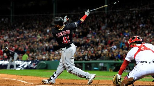 Indians first baseman Carlos Santana