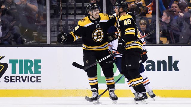 Boston Bruins center David Krejci and winger Jake DeBrusk