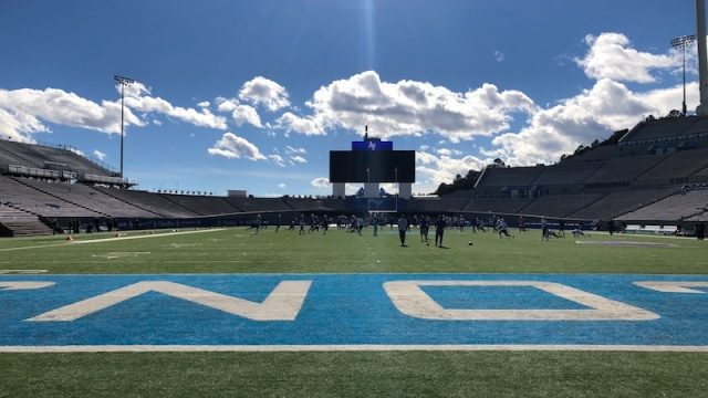 Patriots practice at Air Force Academy